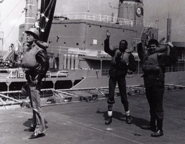On board the USS Guadacanal off the